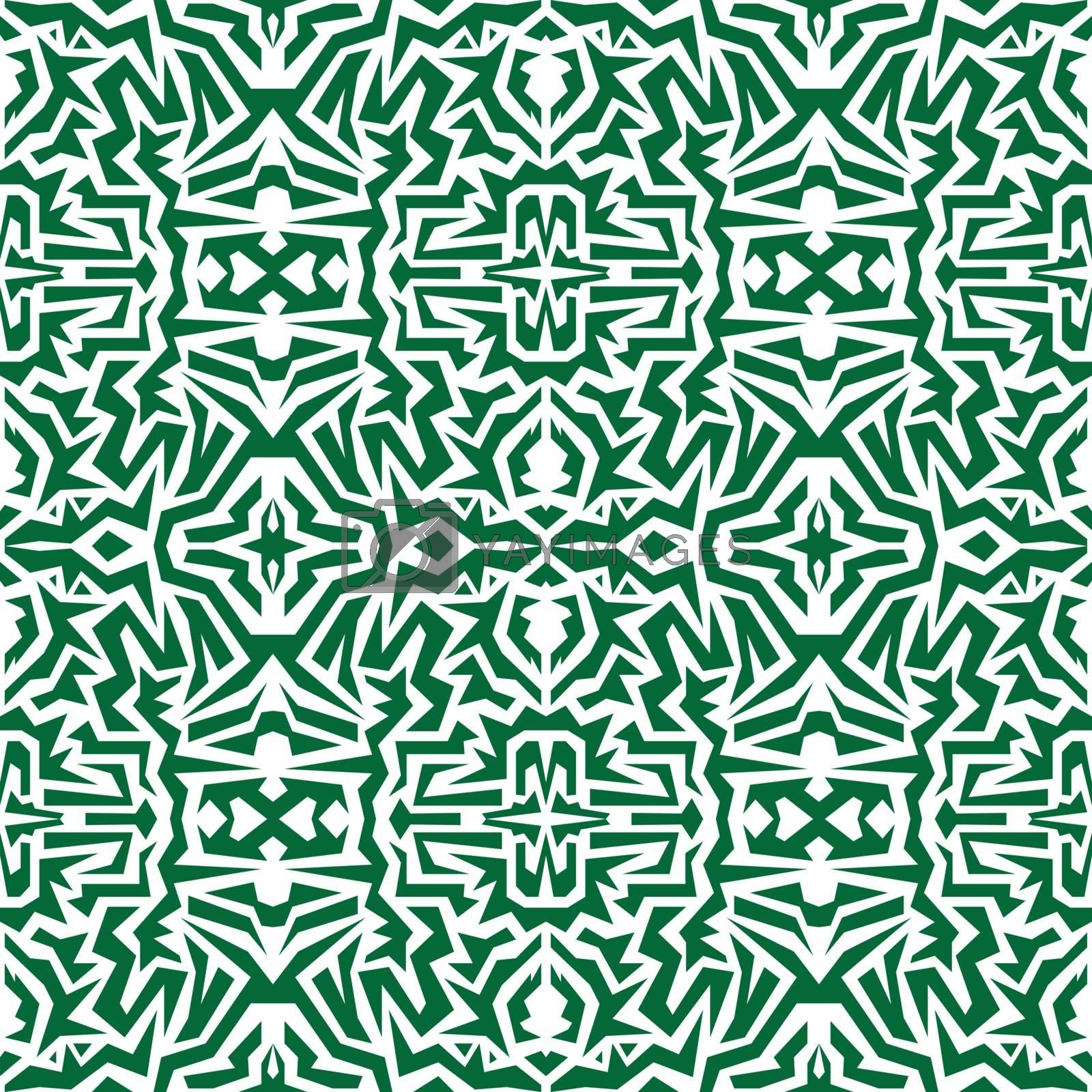 Vector seamless wallpaper. Motley African repetitive pattern. Green print.