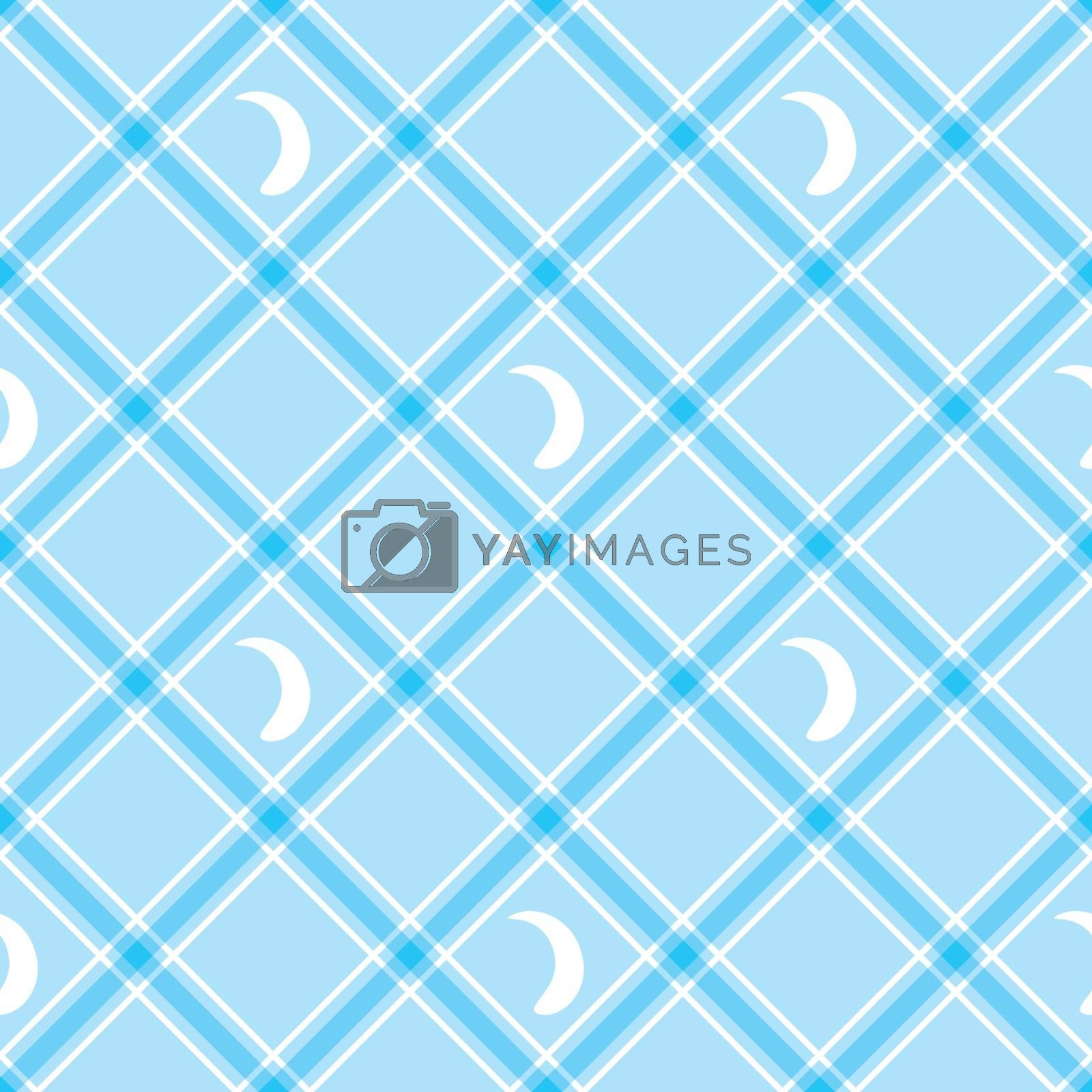 Seamless vector wallpaper. Blue checkered background. Tablecloth