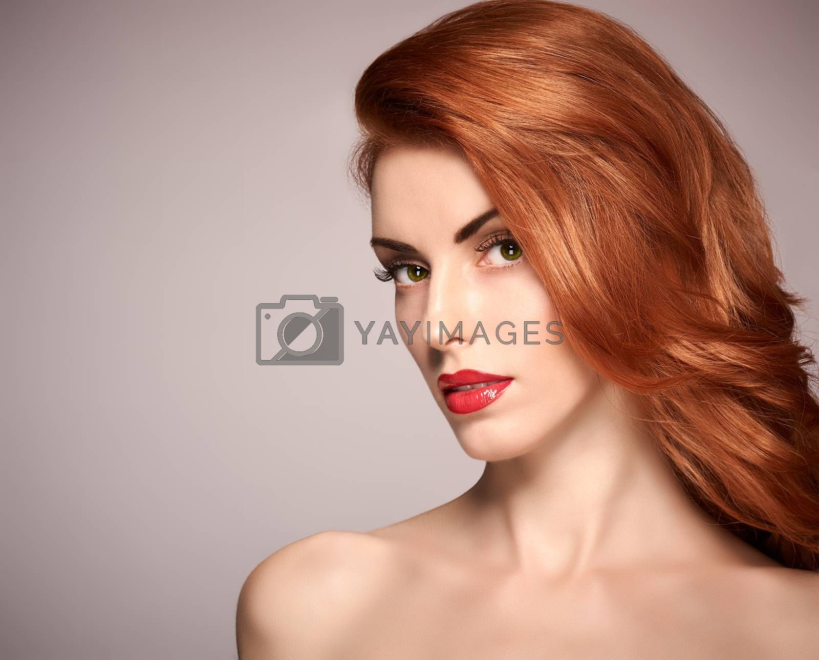 Beauty portrait nude woman, eyelashes, perfect skin, natural makeup, red lips, fashion. Gorgeous sensual attractive pretty redhead sexy model girl, shiny wavy hair. People face closeup, spa, copyspace