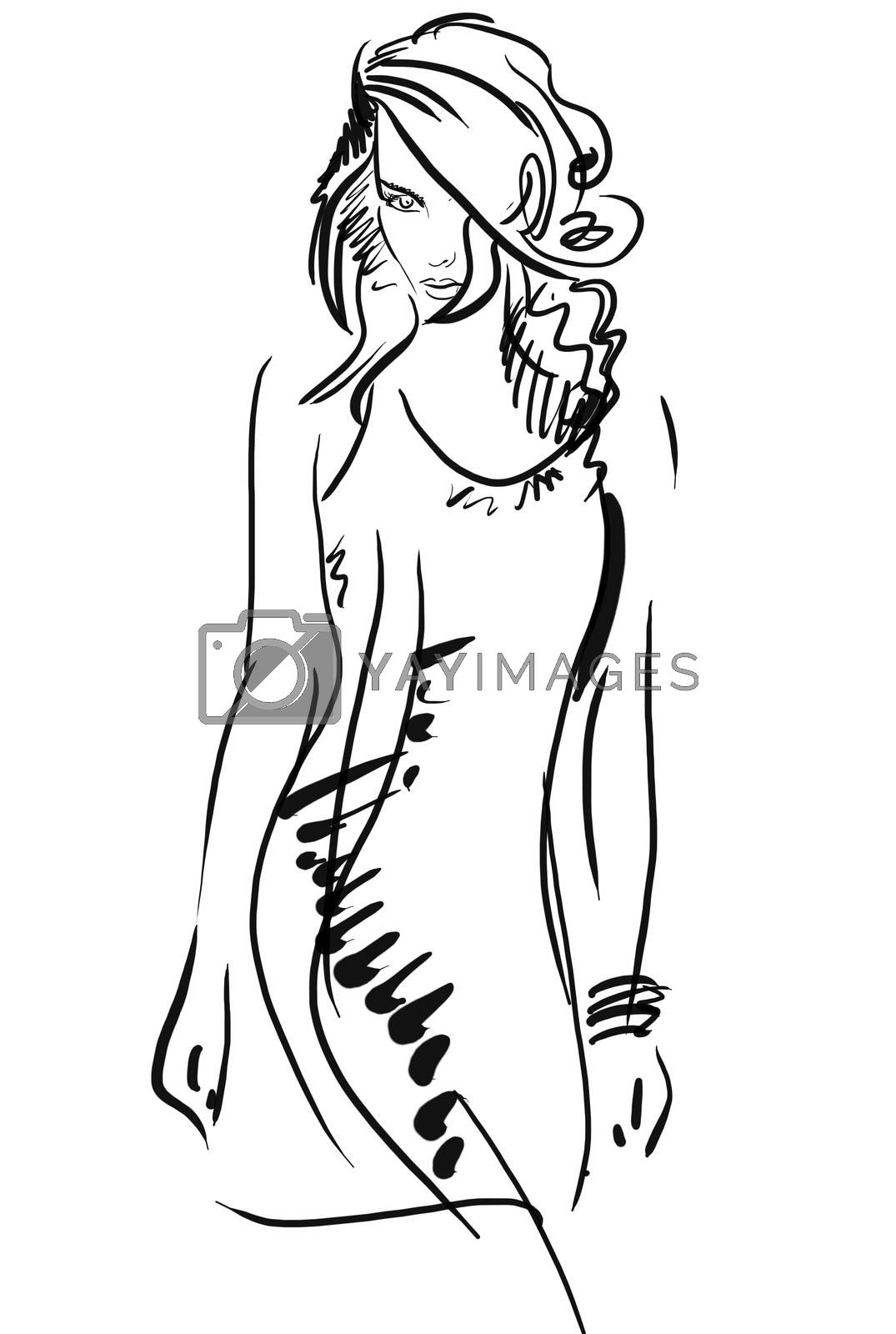 Graphic, sketch hand drawing, logo. Fashion style, youth beauty female. Sexy woman pose,  girl model for design.  Black and white.