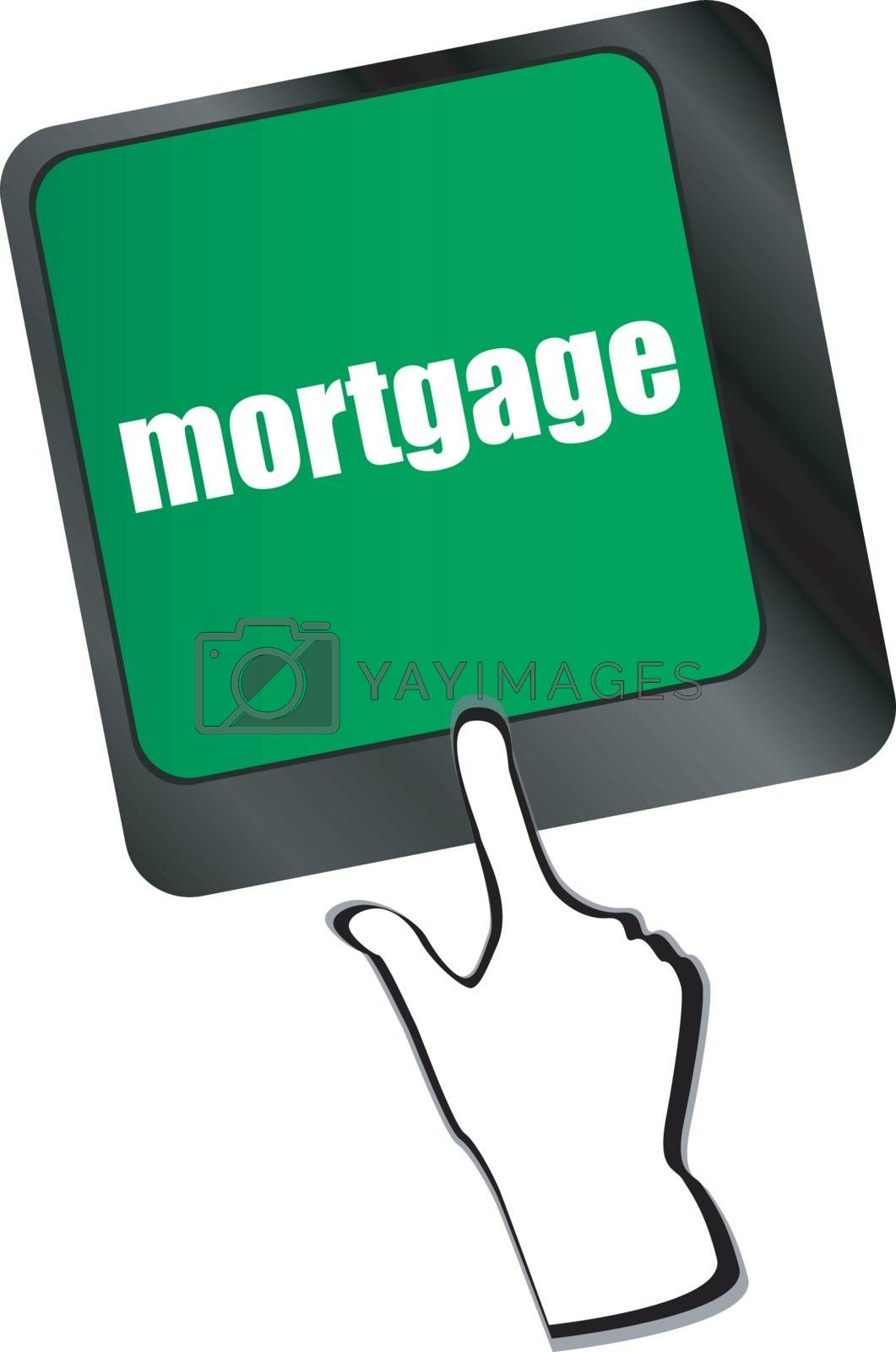 Keyboard with single button showing the word mortgage