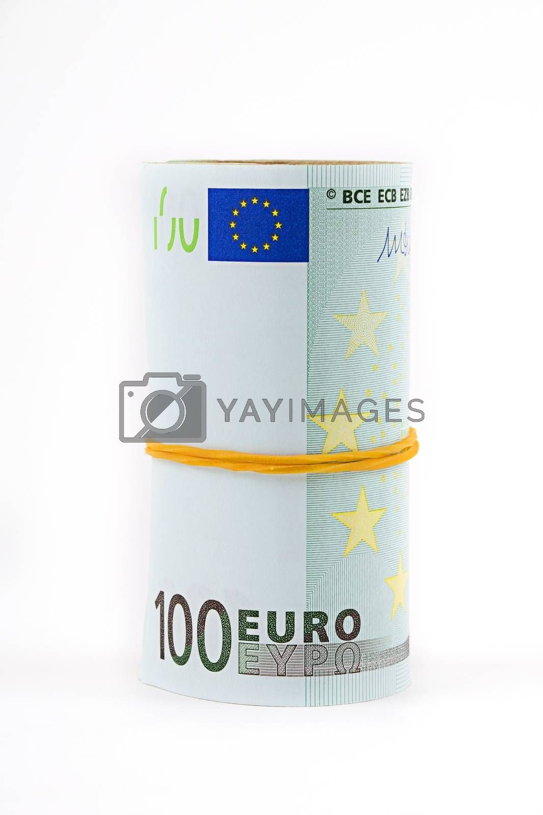 Rolled up European currency - 100 euro