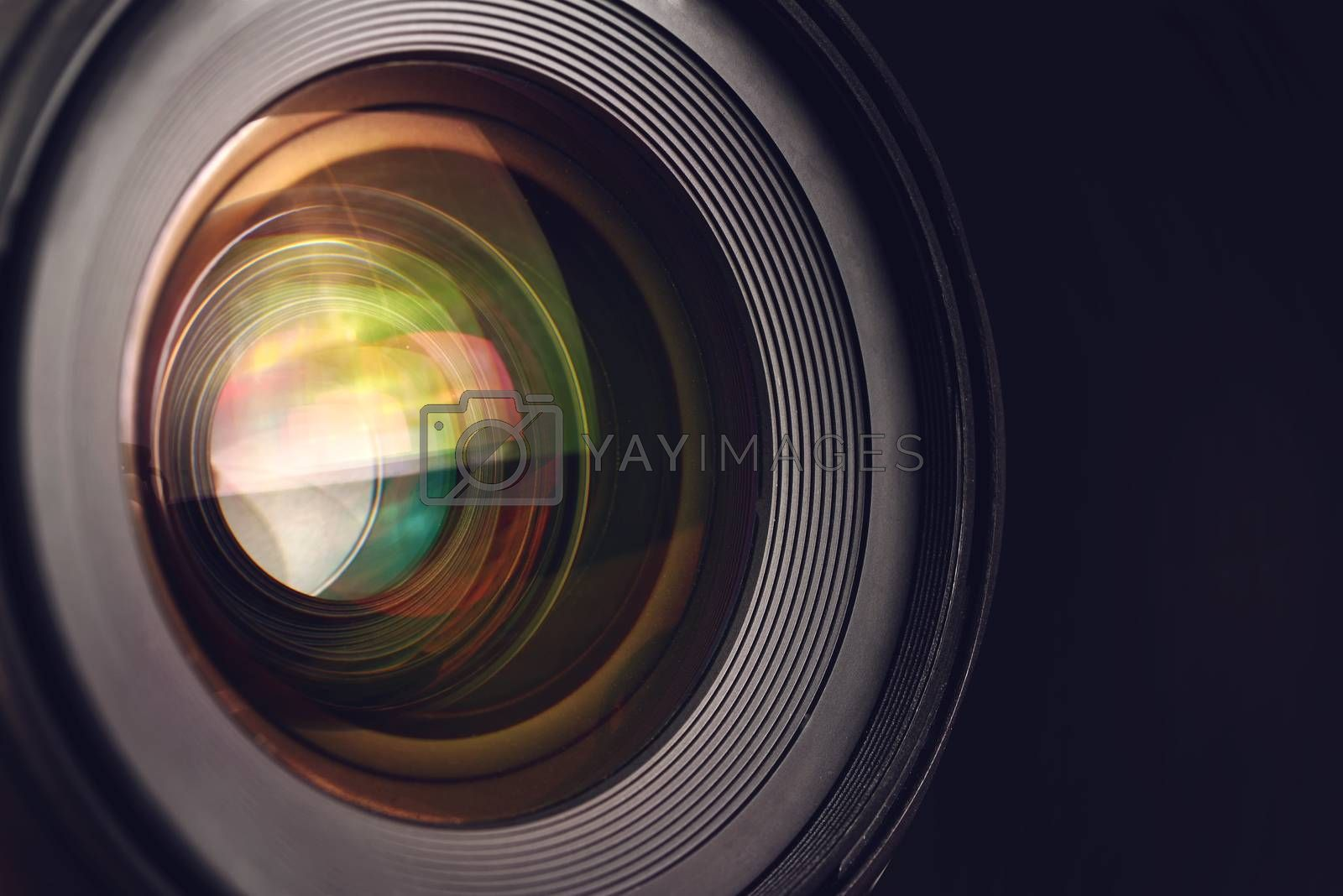 Camera lens detail, front glass of wide angle photography DSLR camera lens, macro shot