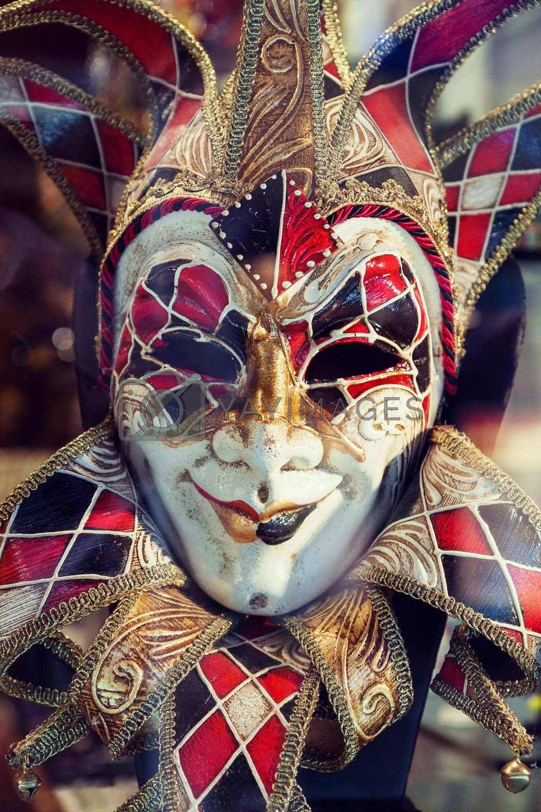Close up picture of traditional decorated carnival mask in Venice, Italy
