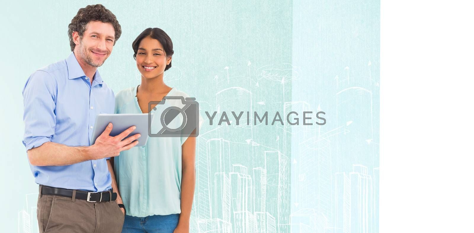 Portrait of smiling business people using tablet computer against hand drawn city plan