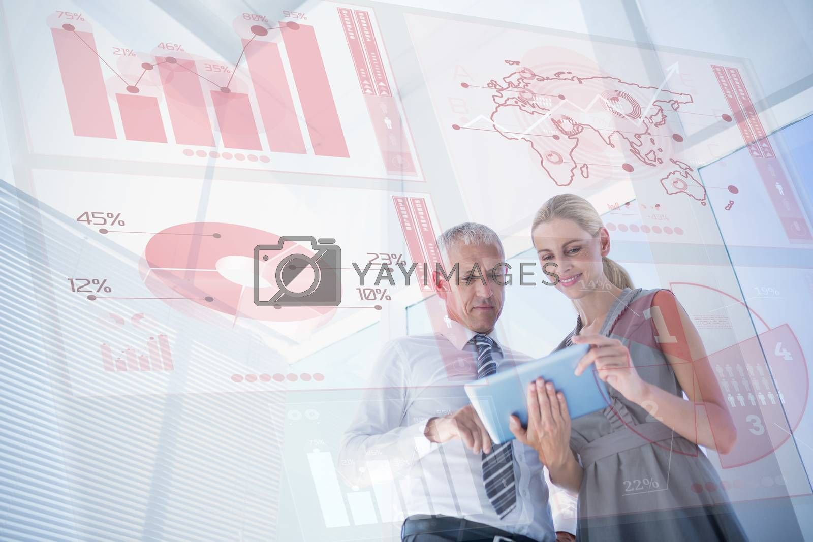 Global business interface against business people discussing over a digital tablet