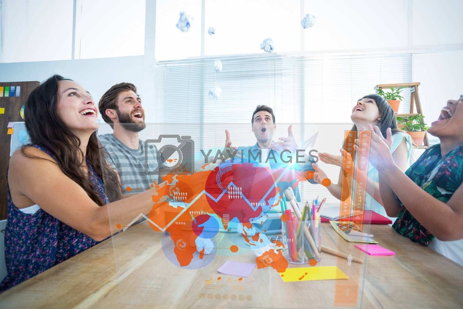 Futuristic interface with the world map  against creative business people throwing paper in the air