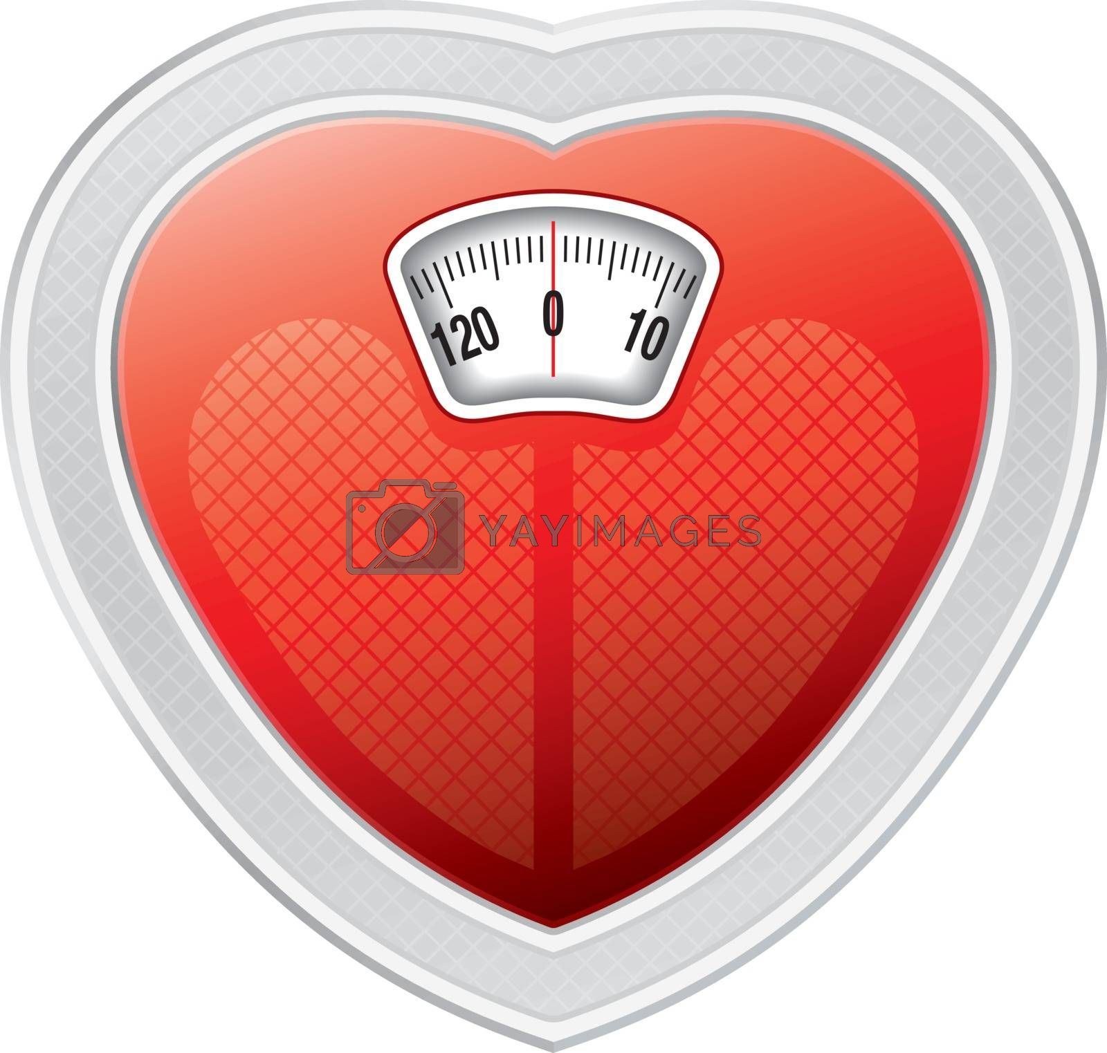 Illustration of Scale with heart shape