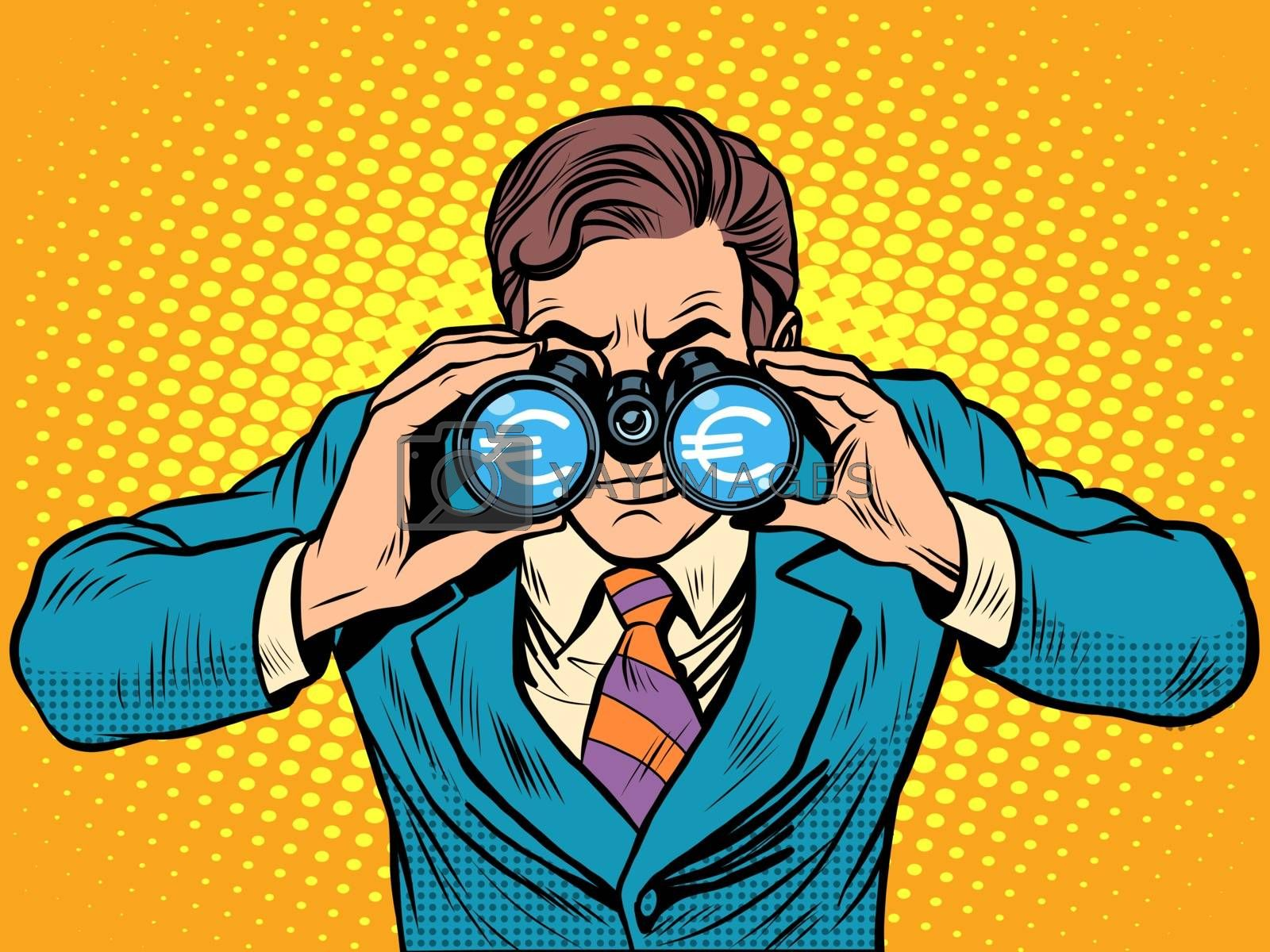 Financial monitoring of currency Euro businessman binoculars pop art retro style
