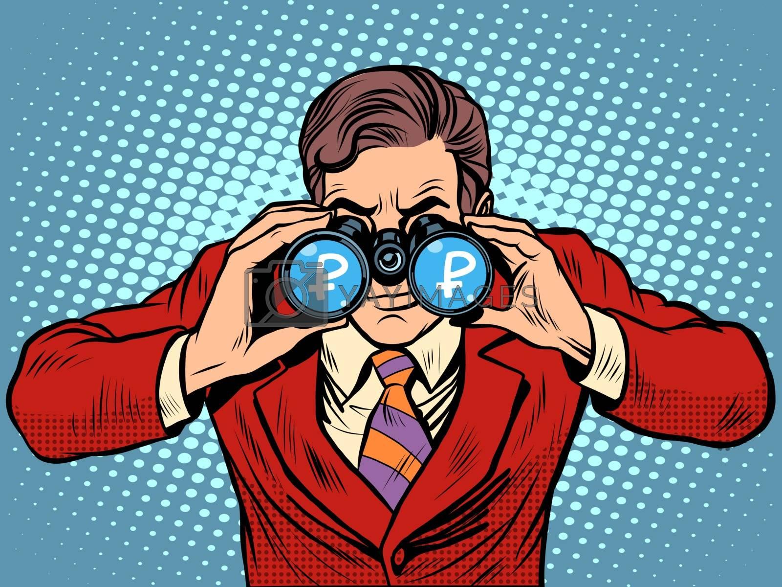 Financial monitoring of currency ruble businessman binoculars pop art retro style