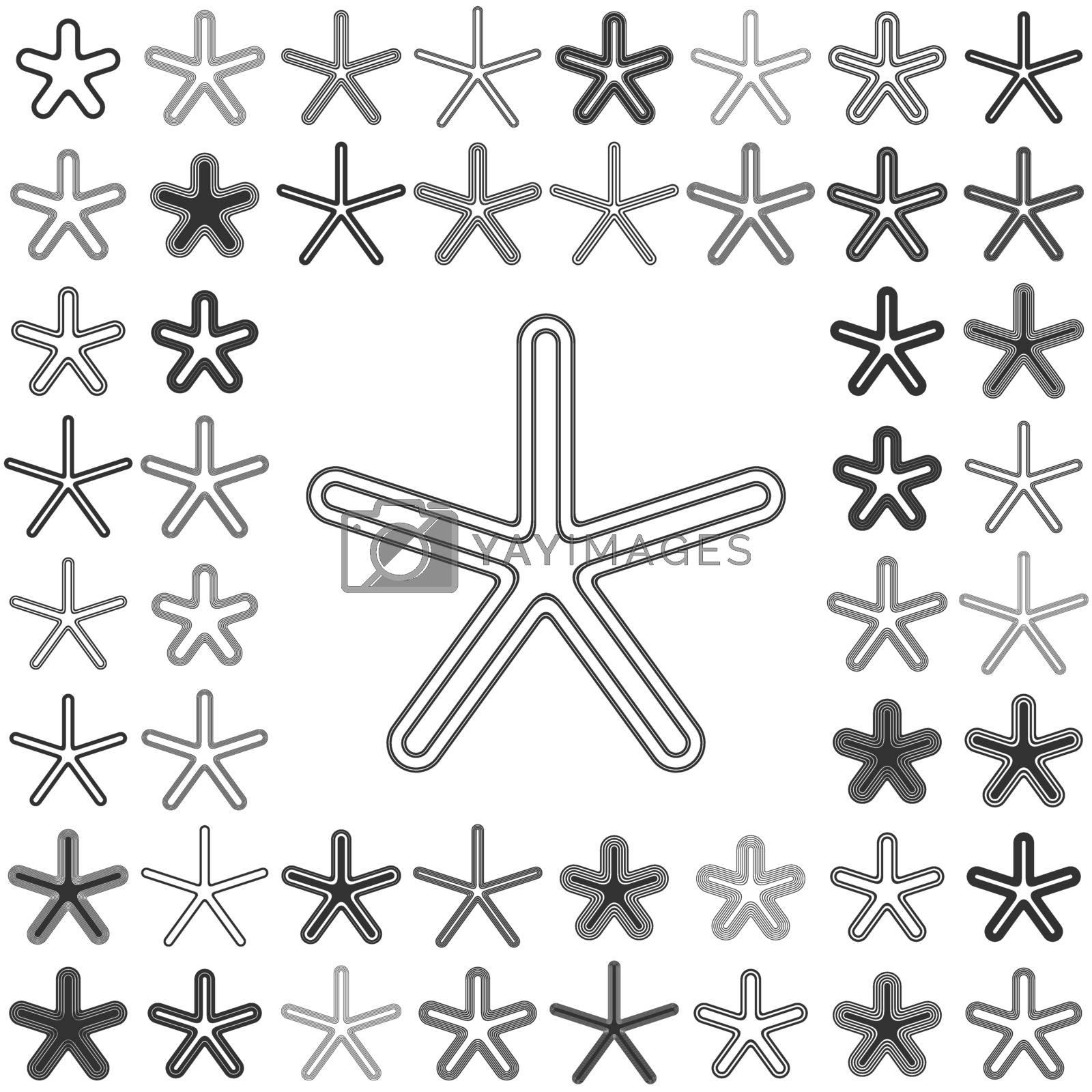 Black line star logo icon design set