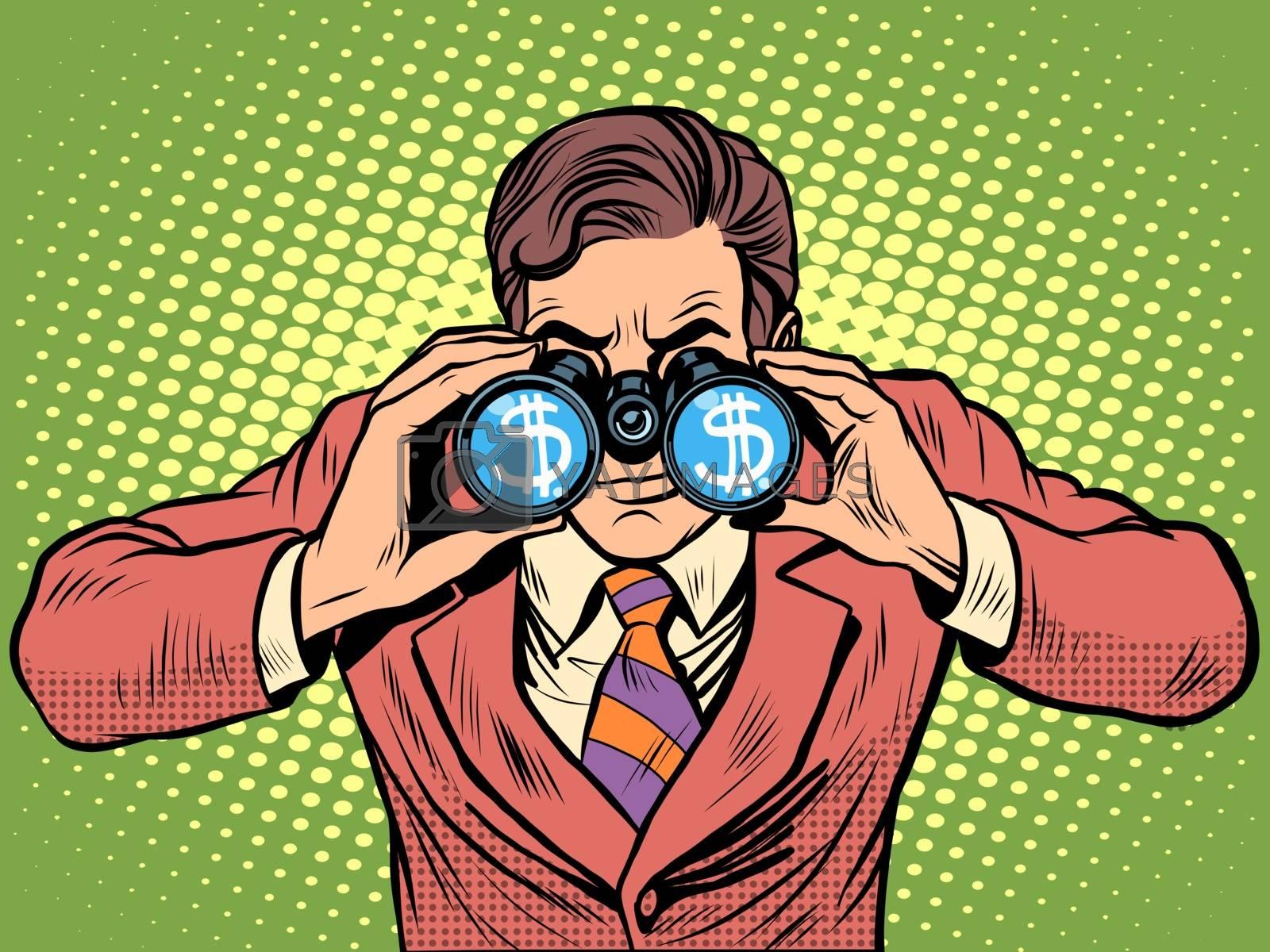 Financial monitoring of currency dollar businessman binoculars pop art retro style