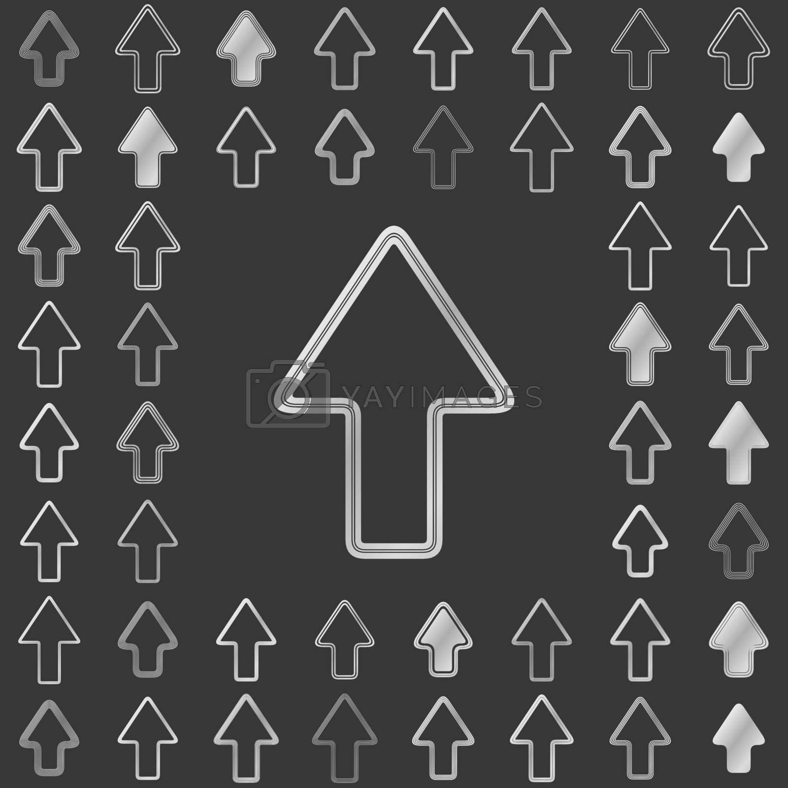 Silver metallic line arrow icon design set