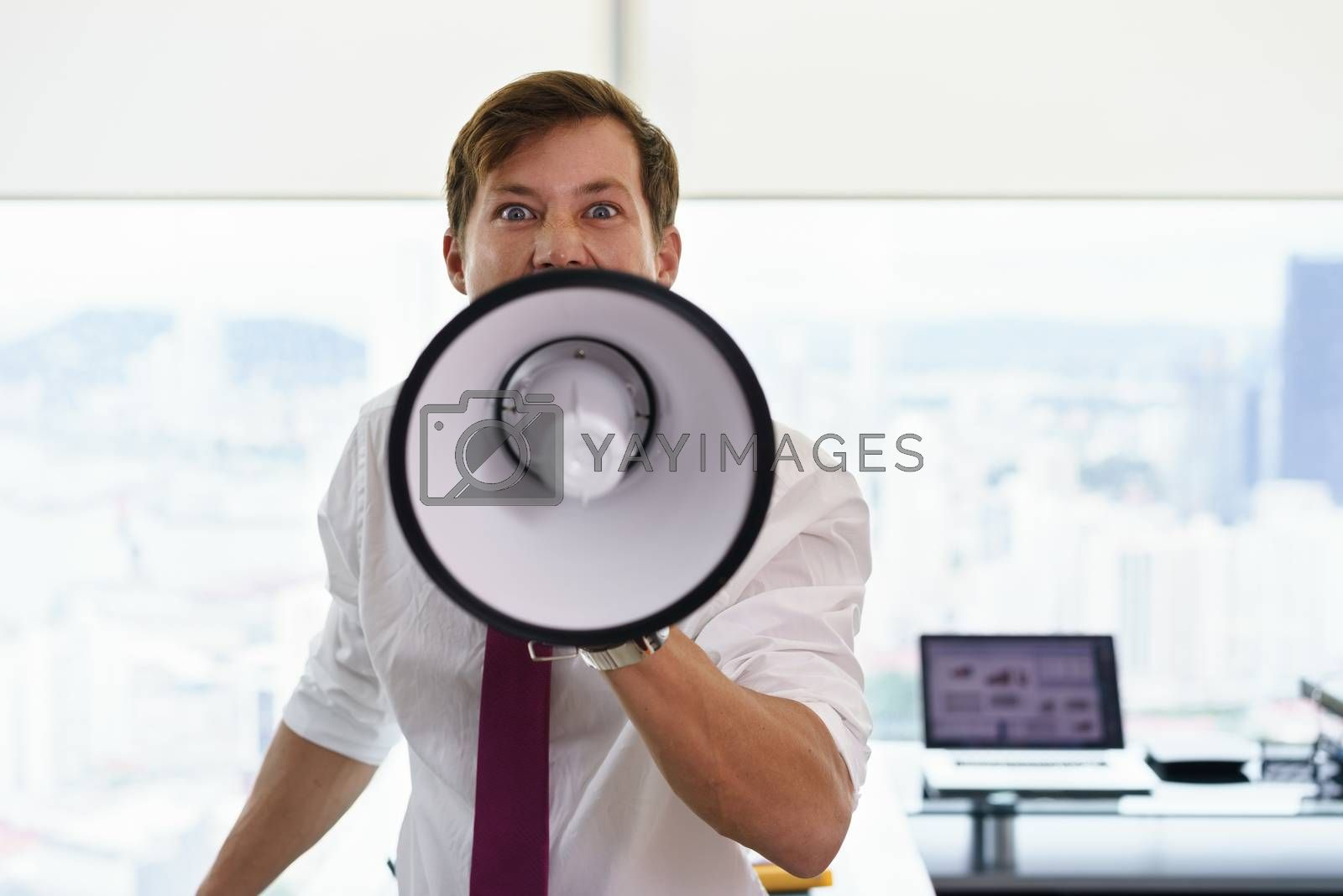 Portrait of furious business man screaming with megaphone in modern office. The angry man looks at camera. Copy space