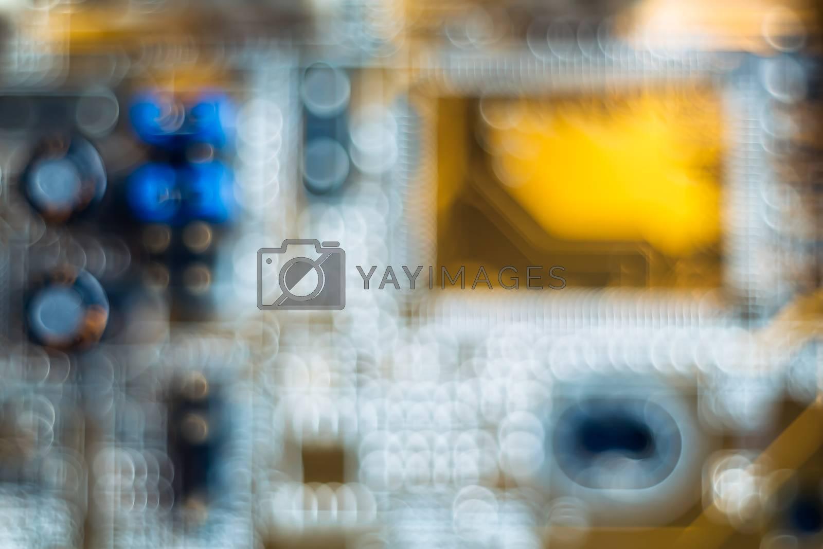 Bokeh electronic circuit close-up computer