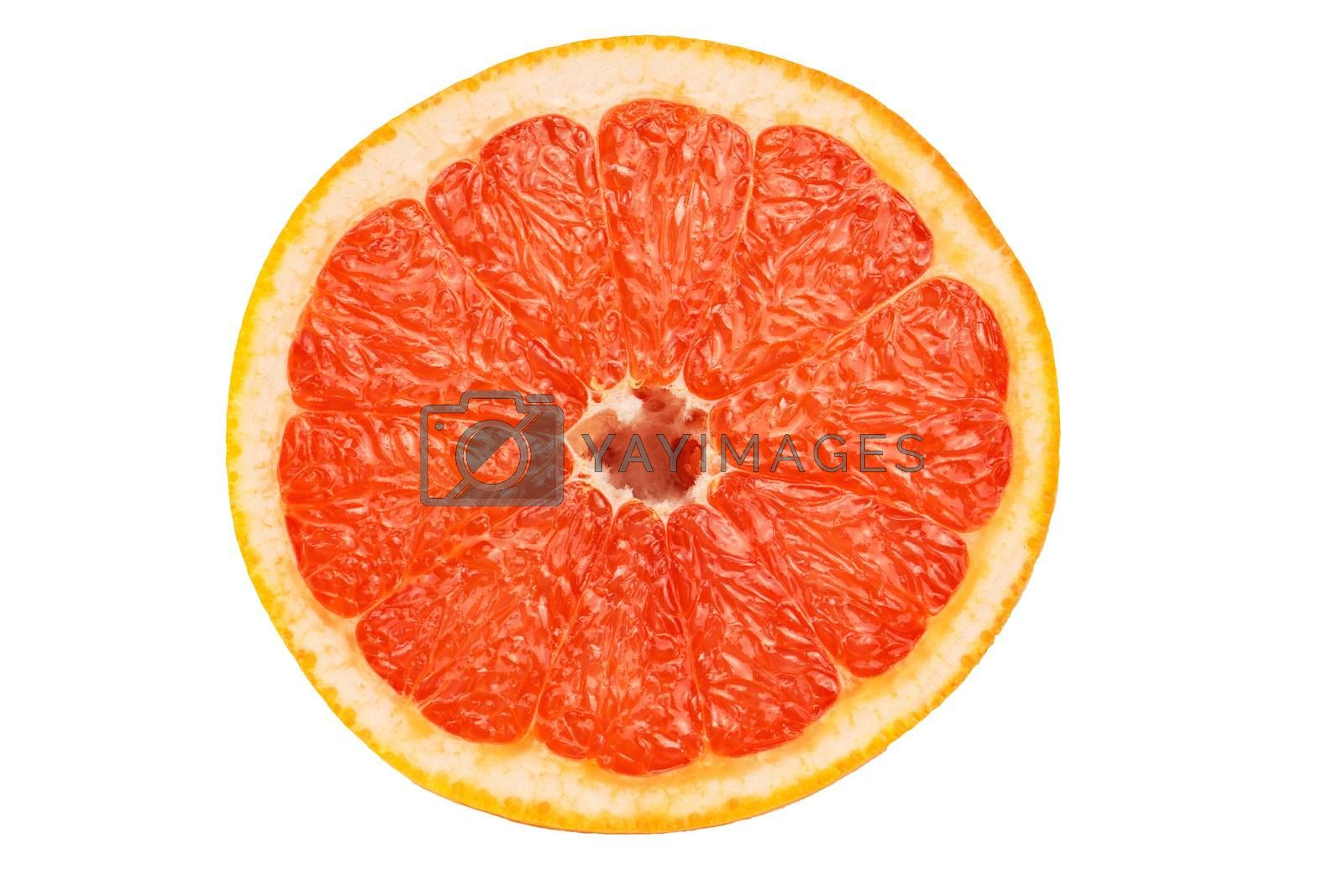 Slice a fresh juicy red round grapefruit