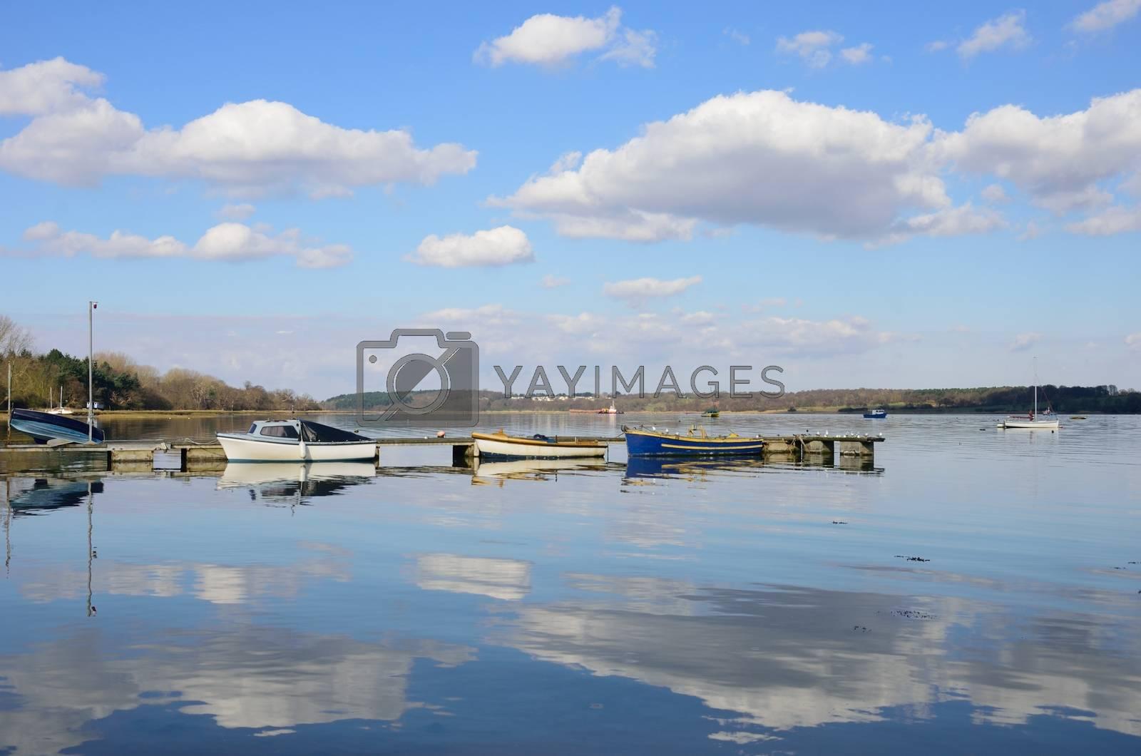Boats in English Estuary Suffolk