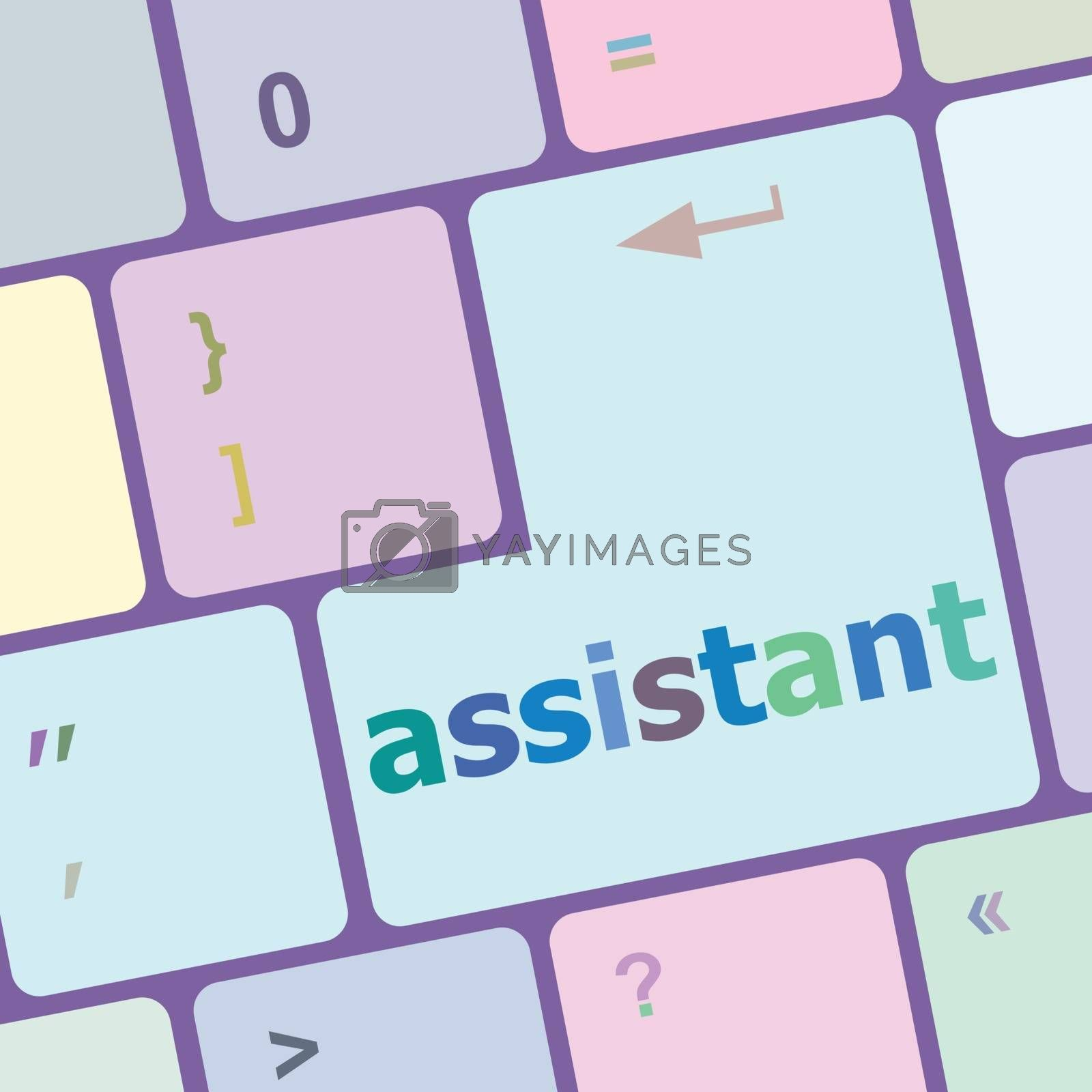 assistant word on keyboard key, notebook computer vector illustration