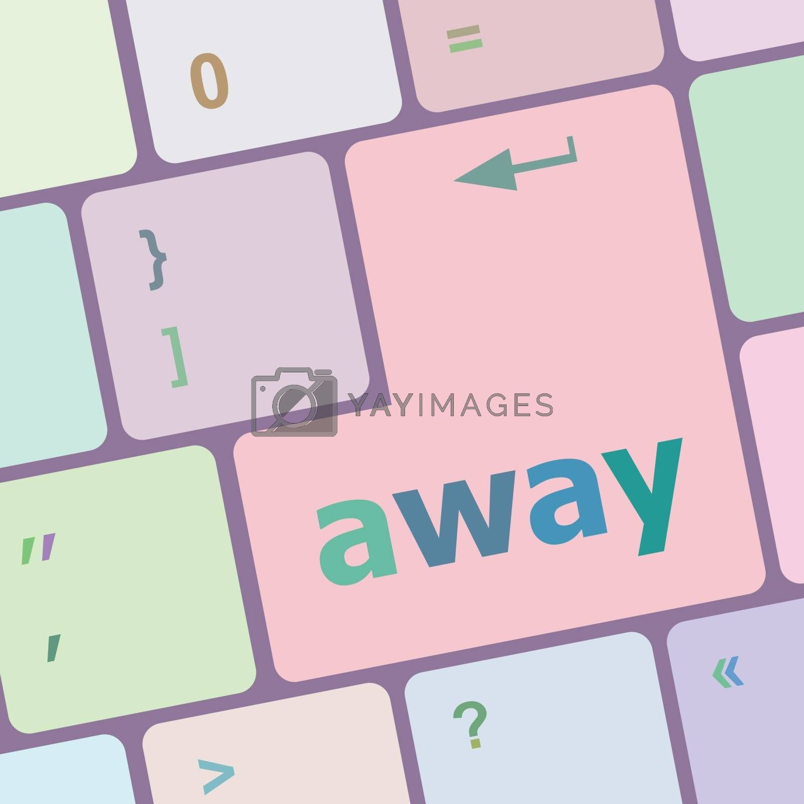 away word on keyboard key, notebook computer vector illustration
