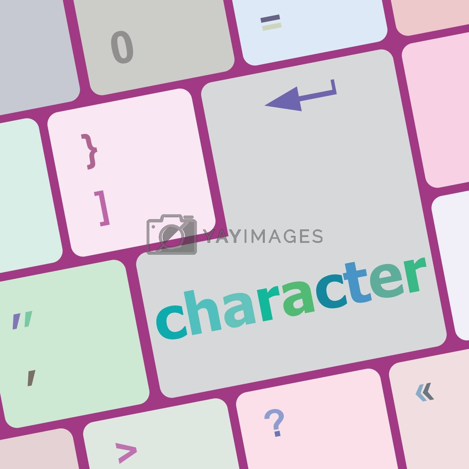character word on keyboard key, notebook computer button vector illustration