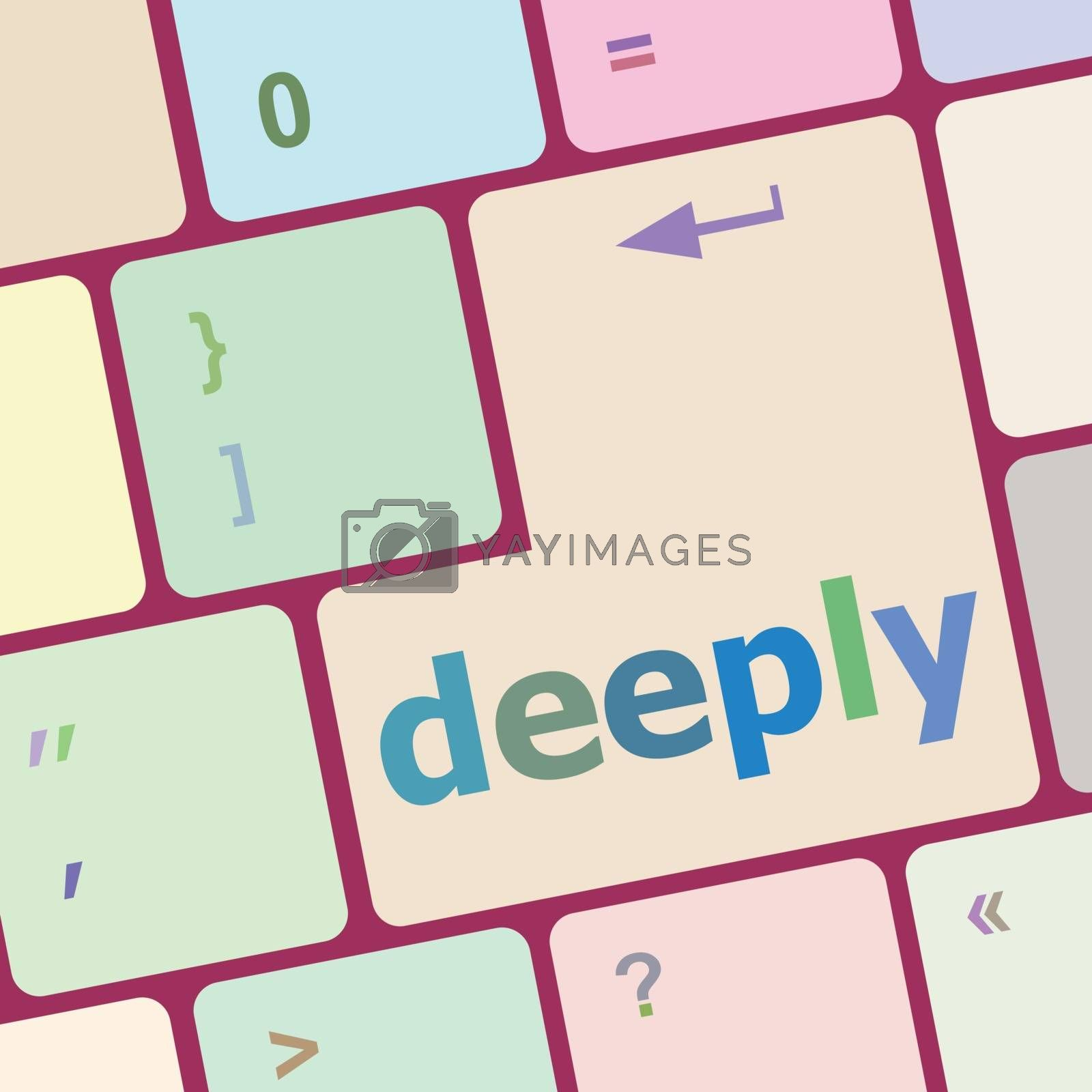 deeply word on keyboard key, notebook computer button vector illustration