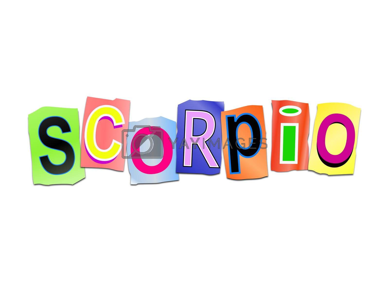 Illustration depicting a set of cut out printed letters arranged to formt the word scorpio.