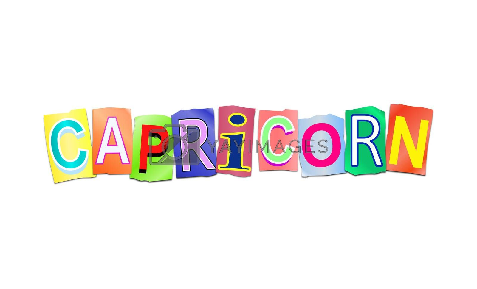 Illustration depicting a set of cut out printed letters arranged to form the word capricorn.