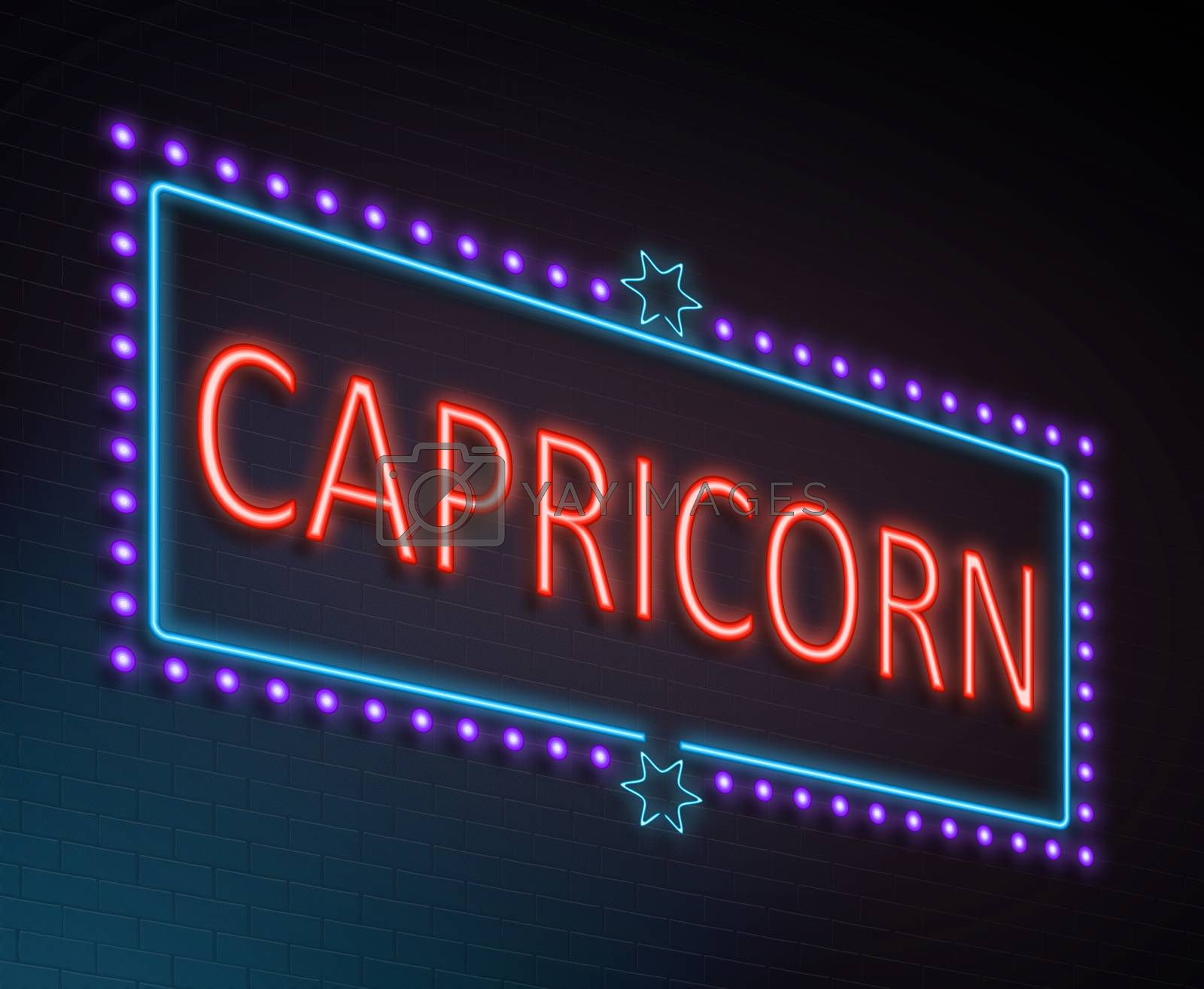 Illustration depicting an illuminated neon sign with a capricorn concept.
