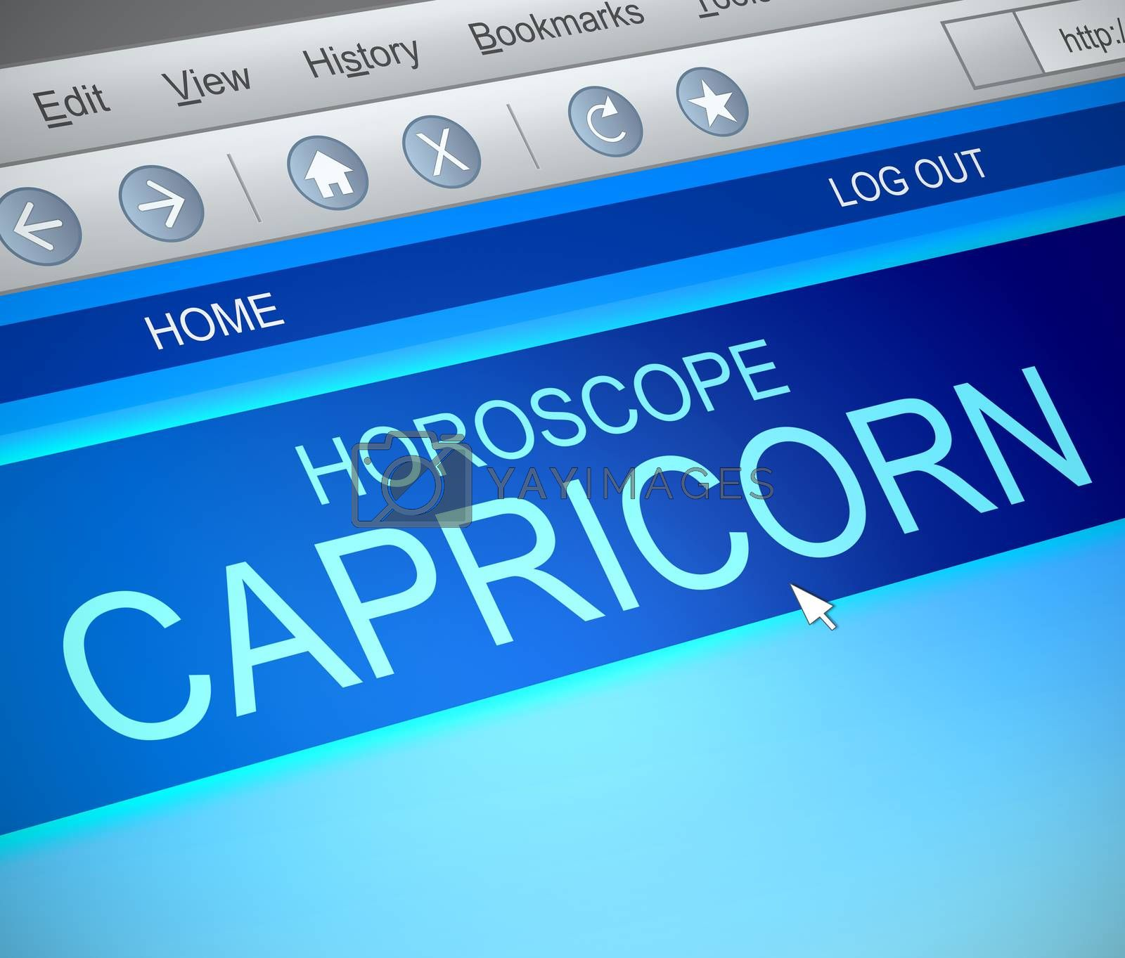 Illustration depicting a computer screen capture with a capricorn concept.