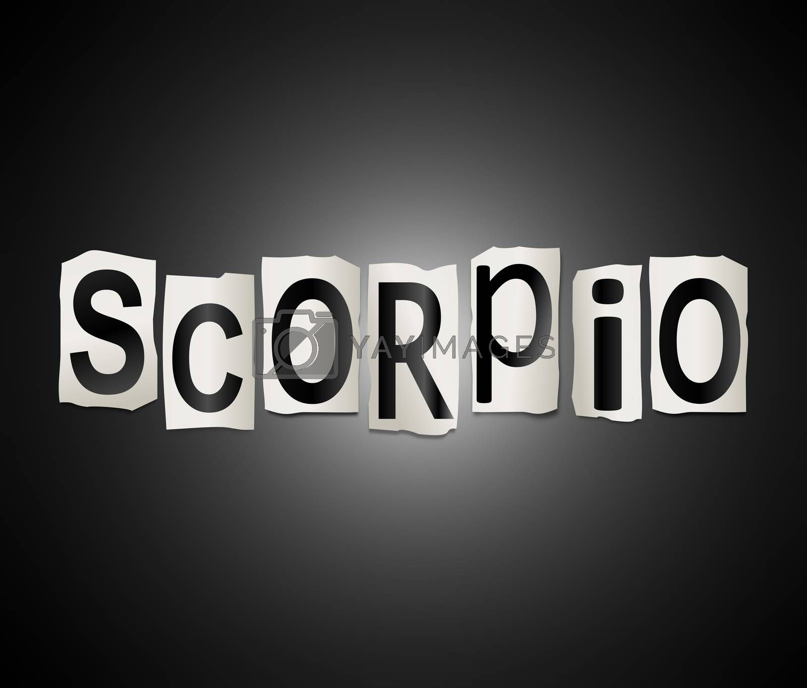 Illustration depicting a set of cut out printed letters arranged to form the word scorpio.