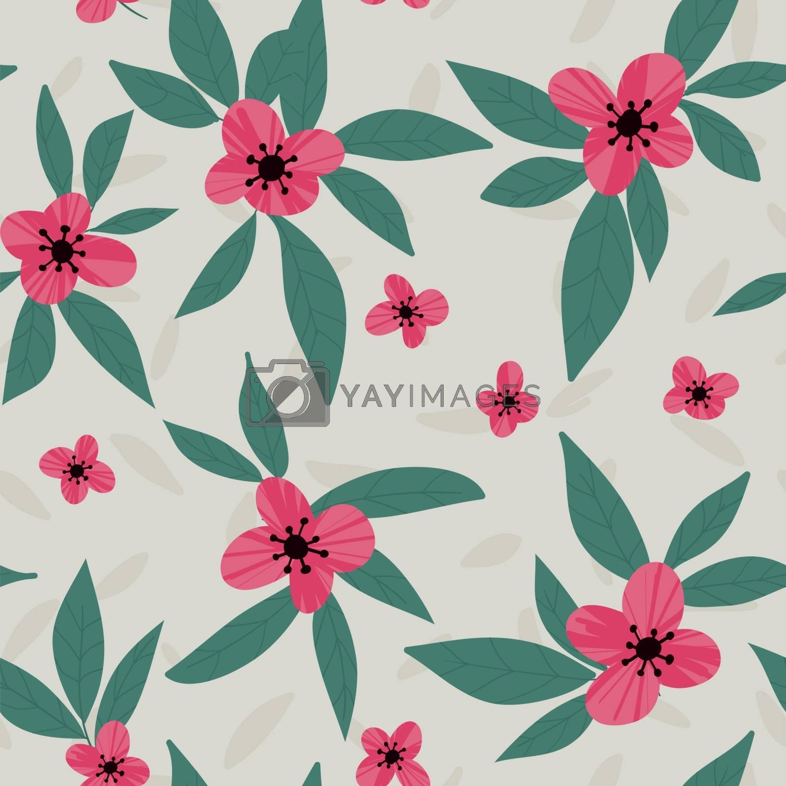 Floral vector pattern. Seamless doodle flowers. by LittleCuckoo