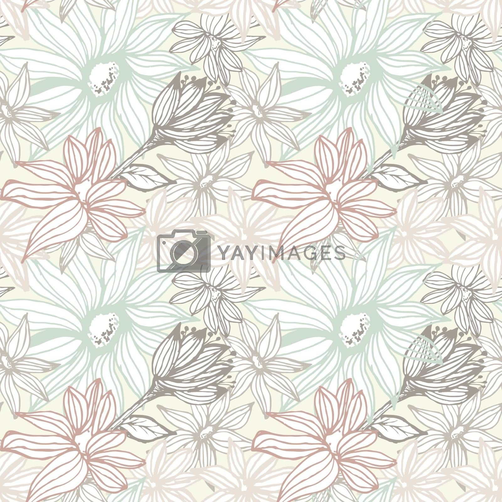 Elegant seamless pattern with flowers. Vector illustration