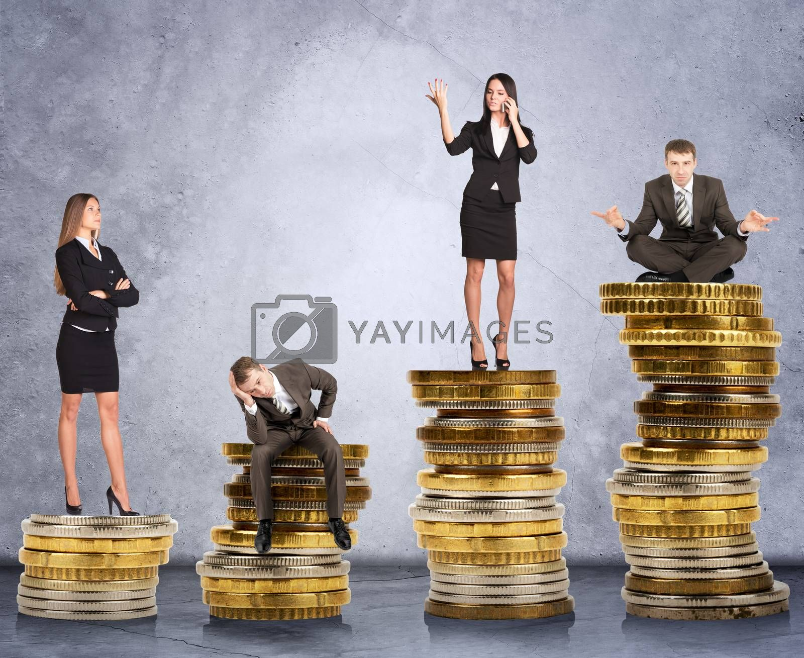 Business people doing different things on coins on grey wall background, business concept