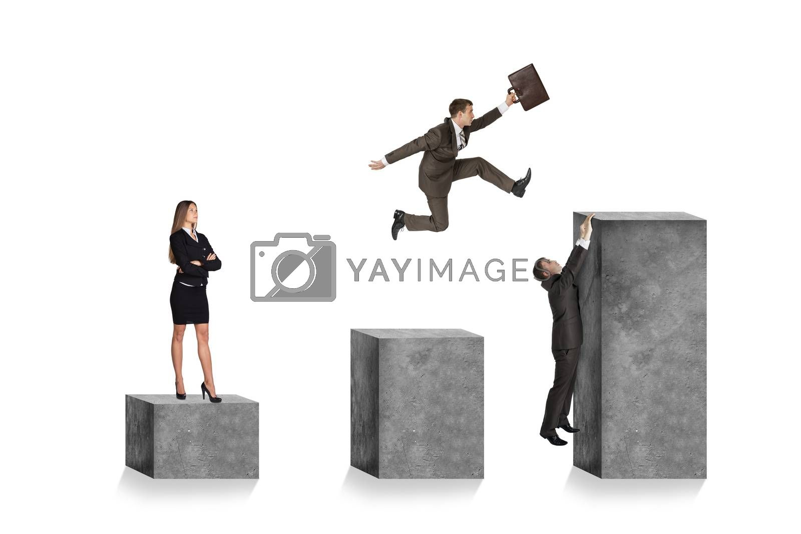 Businesspeople on square stones isolated on white background