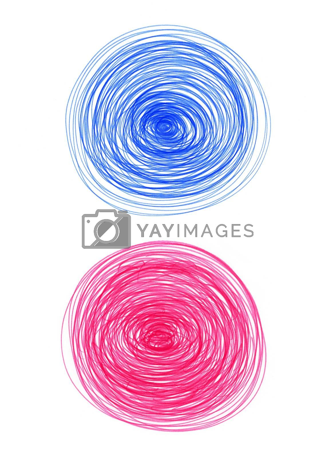Abstract color round shapes on white background for design