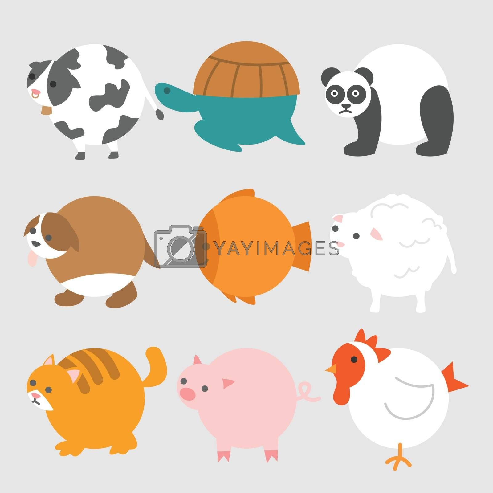 A set of round-shaped animals and pets illustration