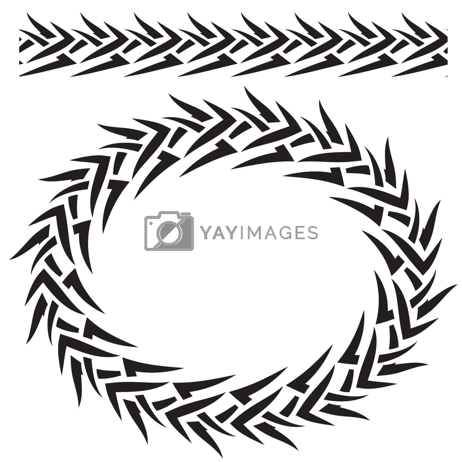 Vector set. Border and Tribal frame on white