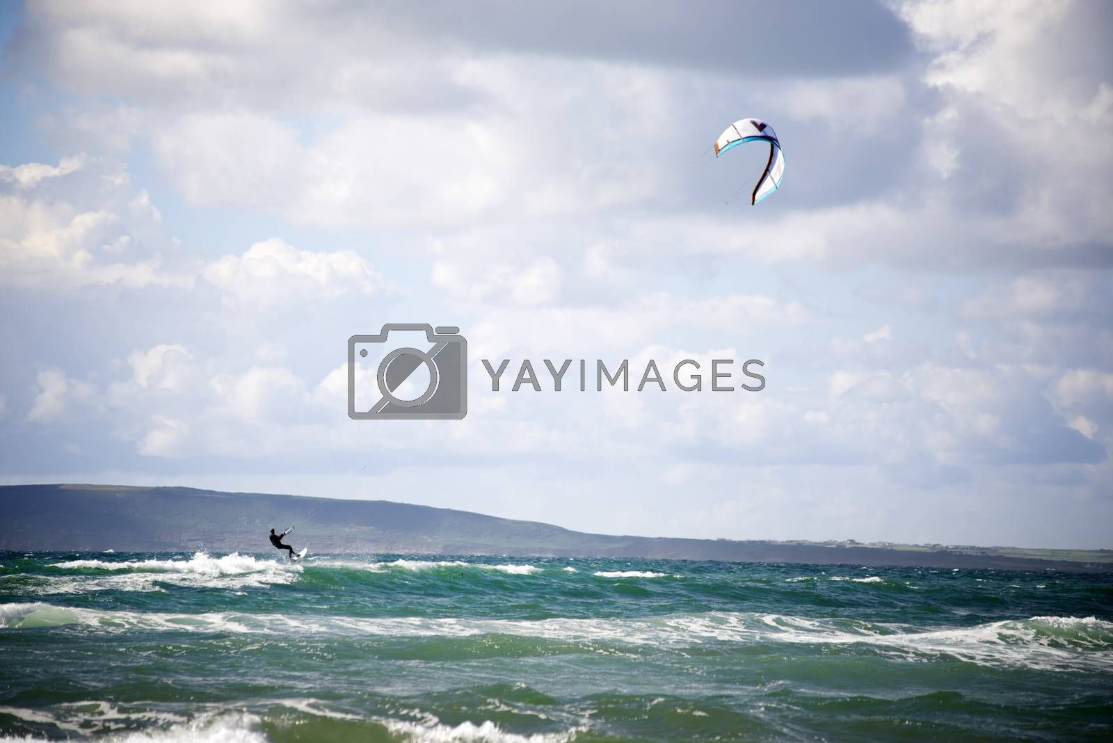 extreme kite surfer holding on at beach in ballybunion county kerry ireland on the wild atlantic way