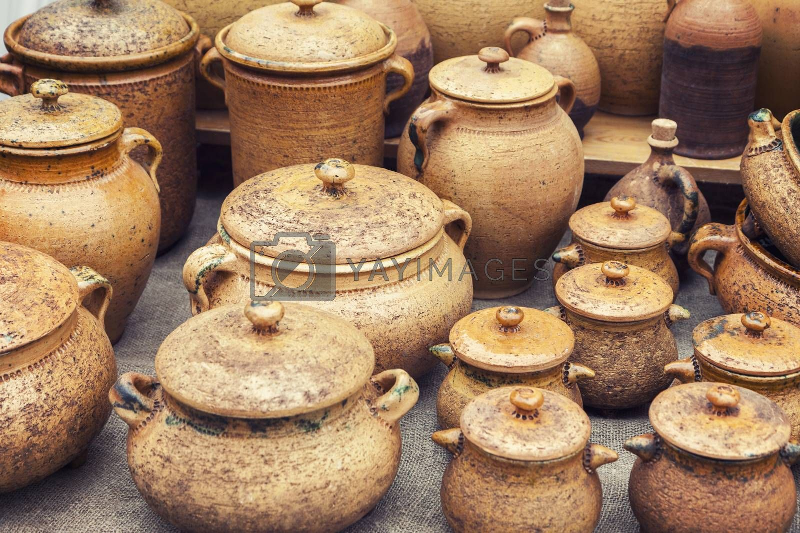 Group of traditional handmade pottery