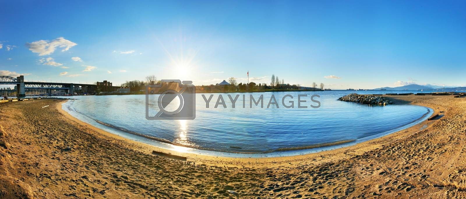 Royalty free image of Sunset above the blue bay by vapi