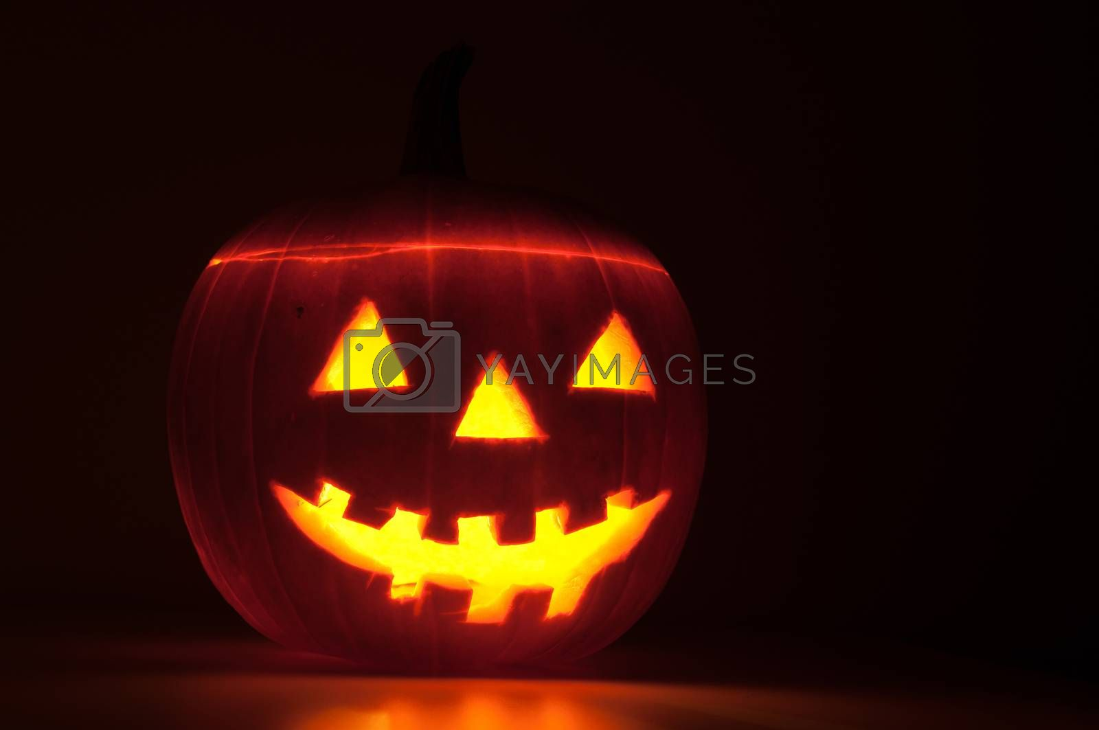 Funny halloween pumpkin glowing in the dark