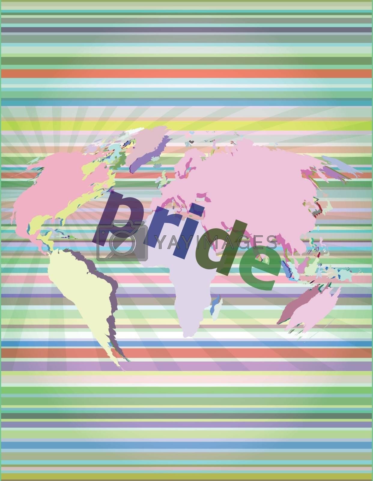 The word pride on business digital screen vector illustration