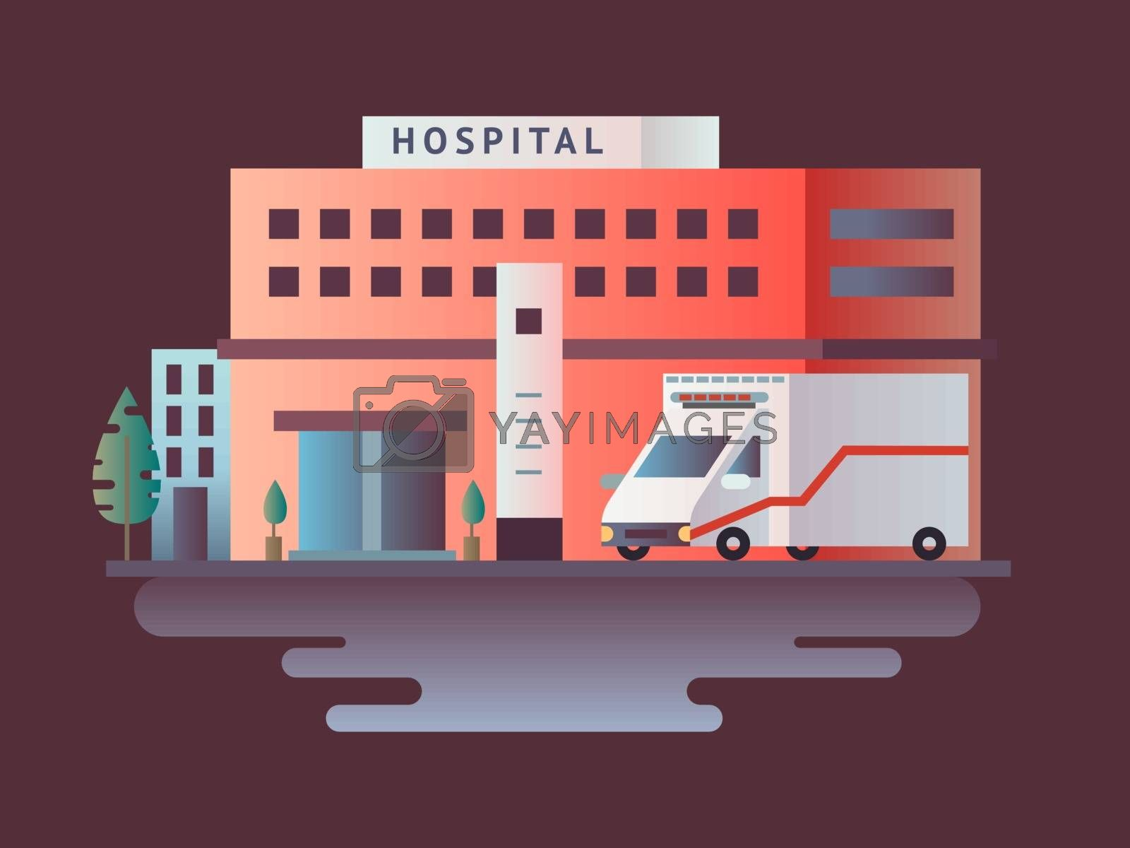 Hospital building design flat. Medical health, care and healthcare, architecture clinic, vector illustration