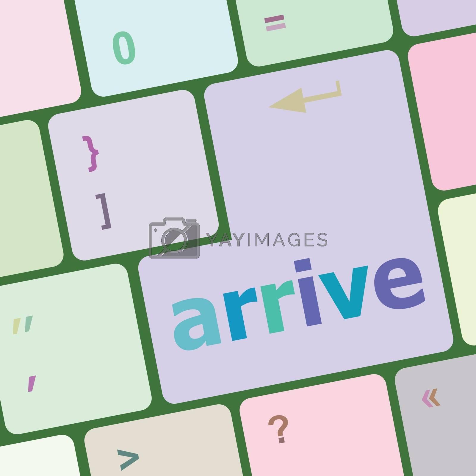 arrive word on keyboard key, notebook computer vector illustration