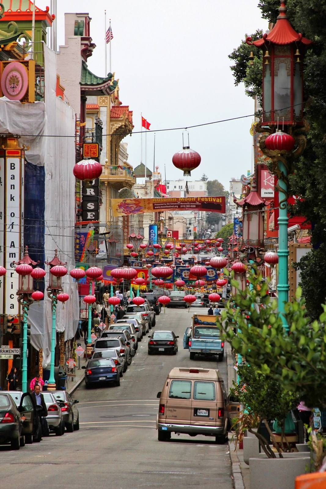 San Francisco, USA - September 15, 2011: Cars parked on the street in the Chinatown district of San Francisco.
