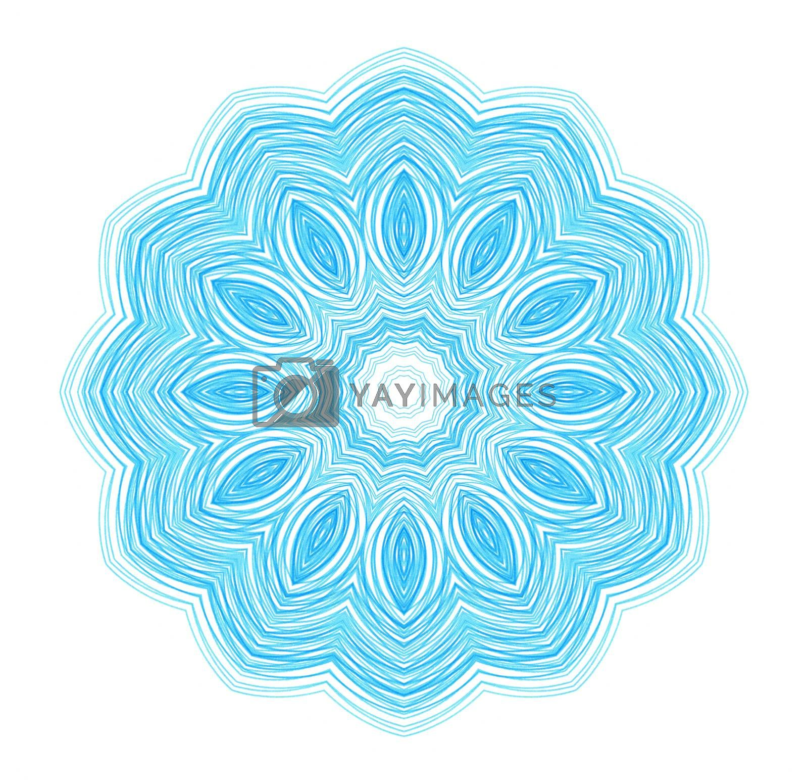 Abstract blue drawn pattern on white for design
