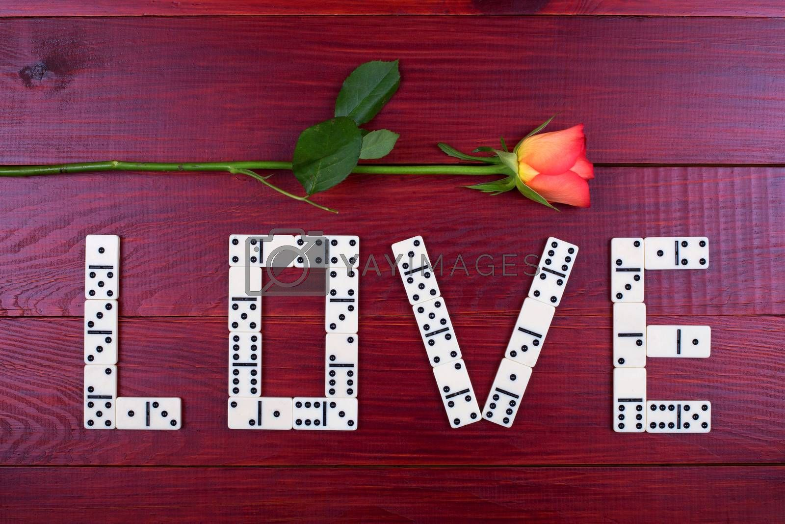 Word love with dominoes on a wooden background