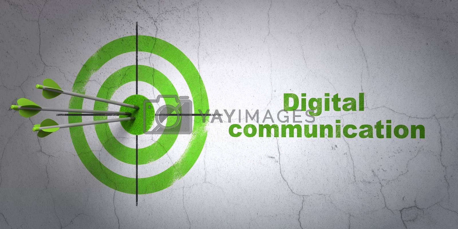 Success Information concept: arrows hitting the center of target, Green Digital Communication on wall background