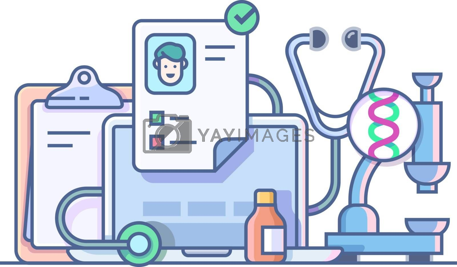 Medical stethoscope microscope accessories. Medicine care, glass bottle and aid, vector illustration