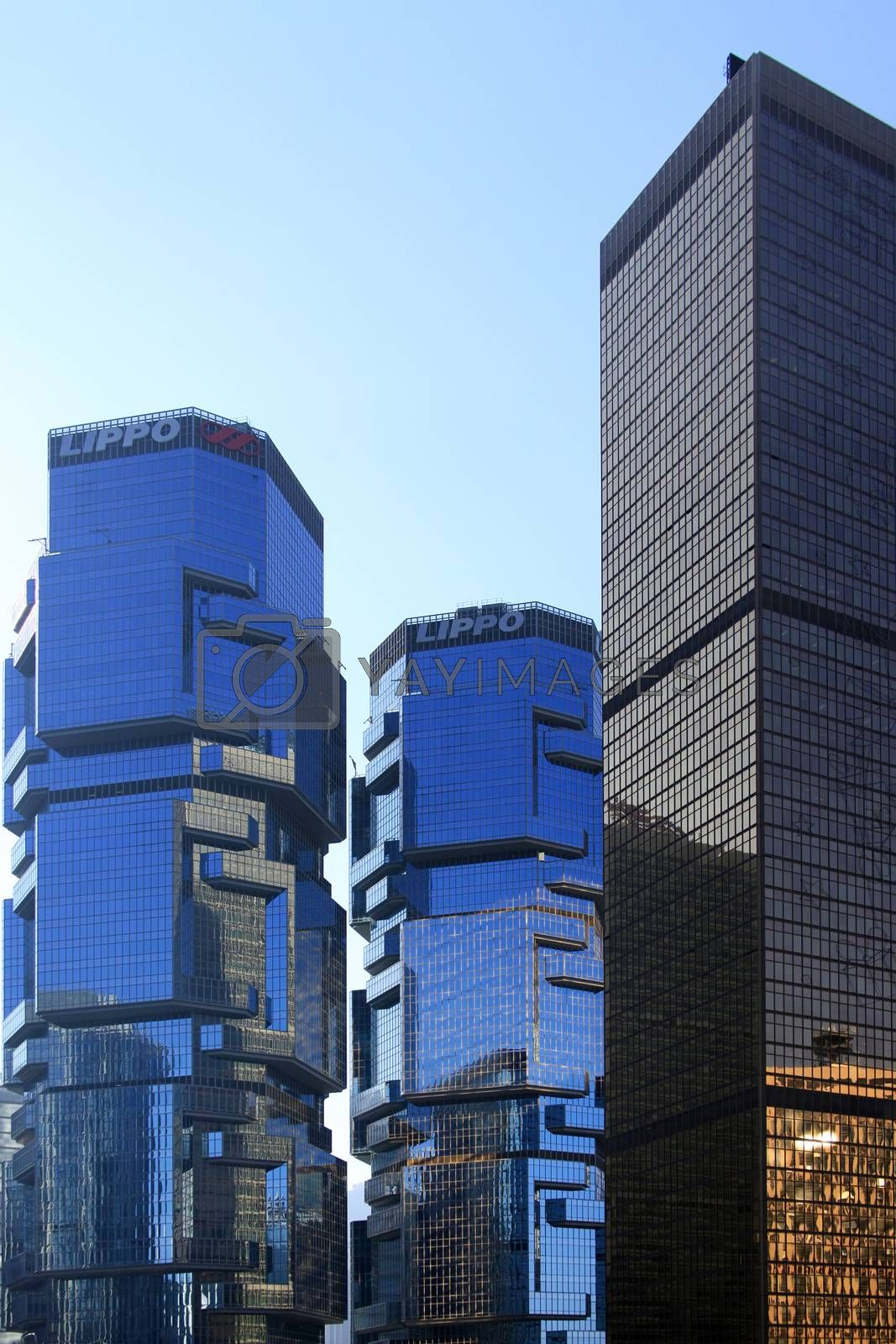 Hong Kong, Hong Kong S.A.R. - December 29, 2014: Lippo Centre. The buildings were designed by Australian architect Paul Rudolph. Tower I is 172 m, and Tower II is 186 m in Hong Kong